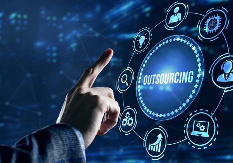 Internet, business, Technology and network concept. Outsourcing Human Resources
